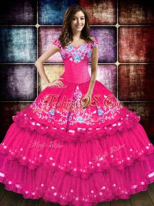 Hot Pink Lace Up Ball Gown Prom Dress Embroidery and Ruffled Layers Sleeveless Floor Length