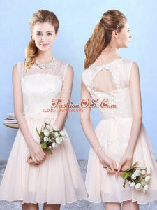 Classical Champagne Chiffon Lace Up Scoop Sleeveless Knee Length Wedding Guest Dresses Lace