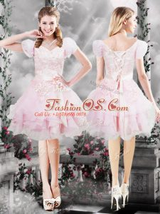 Deluxe Knee Length Baby Pink Prom Evening Gown V-neck Short Sleeves Lace Up