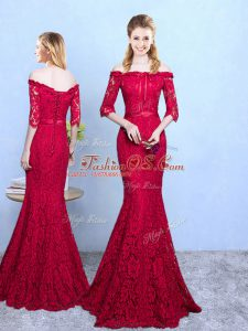 Elegant Half Sleeves Lace Up Floor Length Lace Court Dresses for Sweet 16