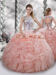 Scoop Sleeveless Organza Sweet 16 Dress Beading and Ruffles Lace Up