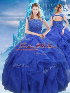 Amazing Bateau Sleeveless Organza Ball Gown Prom Dress Ruffles and Sequins Lace Up