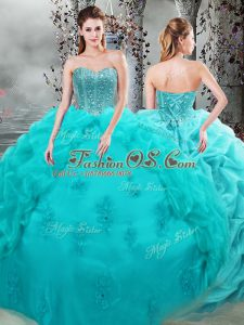 New Style Floor Length Lace Up Quinceanera Gown Aqua Blue for Military Ball and Sweet 16 and Quinceanera with Beading and Appliques and Pick Ups