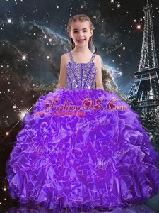 Beauteous Straps Sleeveless Organza Child Pageant Dress Beading and Ruffles Lace Up