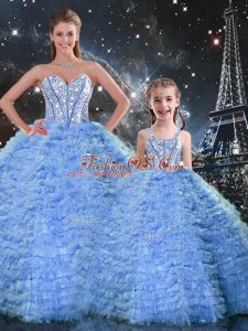 Dramatic Sweetheart Sleeveless Ball Gown Prom Dress Floor Length Beading and Ruffles Blue Tulle