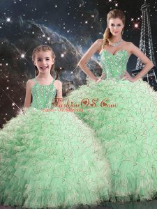 Perfect Apple Green Organza Lace Up Sweetheart Sleeveless Floor Length Sweet 16 Dresses Beading and Ruffles