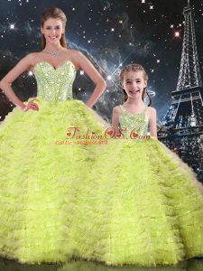 Inexpensive Yellow Green Tulle Lace Up Sweetheart Sleeveless Floor Length Sweet 16 Dresses Beading and Ruffles