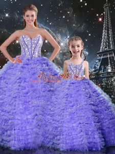 Nice Sleeveless Beading and Ruffles Lace Up Quinceanera Dress