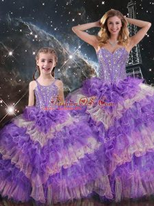 Unique Multi-color Ball Gowns Beading and Ruffled Layers and Sequins Sweet 16 Quinceanera Dress Lace Up Organza Sleeveless Floor Length