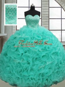 Turquoise Fabric With Rolling Flowers Lace Up Quinceanera Dress Sleeveless Brush Train Beading