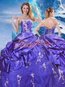 Sweet Purple Sleeveless Taffeta Zipper Quinceanera Dresses for Military Ball and Sweet 16 and Quinceanera
