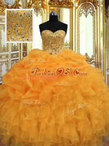 Orange Sleeveless Beading and Ruffles Floor Length Vestidos de Quinceanera