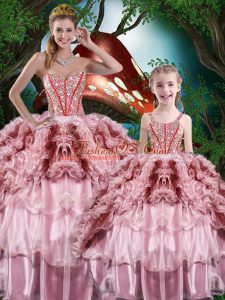 Sweetheart Sleeveless Quinceanera Gown Floor Length Beading and Ruffles and Ruffled Layers Multi-color Organza