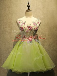 Organza Scoop Sleeveless Lace Up Embroidery Dress for Prom in Olive Green