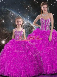 Fuchsia Sweetheart Neckline Beading and Ruffles Quince Ball Gowns Sleeveless Lace Up