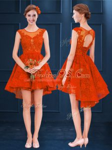 High Low Clasp Handle Dama Dress Rust Red for Prom and Party and Wedding Party with Lace