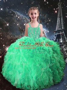 Best Selling Apple Green Lace Up Girls Pageant Dresses Beading and Ruffles Sleeveless Floor Length