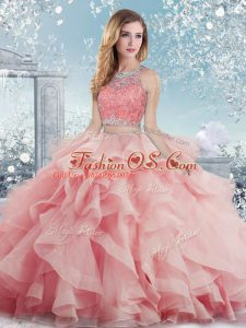 Graceful Baby Pink Quinceanera Dresses Military Ball and Sweet 16 and Quinceanera with Beading and Ruffles Scoop Sleeveless Clasp Handle