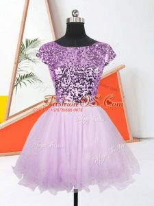 Glorious Lilac Sleeveless Sequins Mini Length Evening Dress