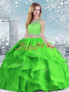 Sleeveless Floor Length Beading and Ruffles Clasp Handle Quinceanera Gowns