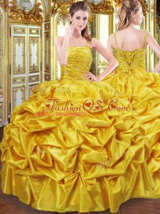 Custom Fit Floor Length Gold Sweet 16 Dresses Spaghetti Straps Sleeveless Lace Up