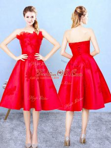 Red Sleeveless Appliques and Ruffles Knee Length Quinceanera Court of Honor Dress