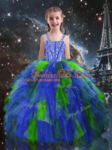 Customized Sleeveless Beading and Ruffles Lace Up Little Girls Pageant Gowns