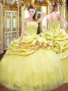 Floor Length Gold Ball Gown Prom Dress Strapless Sleeveless Lace Up