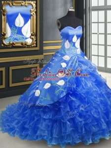 Blue 15th Birthday Dress Military Ball and Sweet 16 and Quinceanera with Embroidery and Ruffles Sweetheart Sleeveless Brush Train Lace Up
