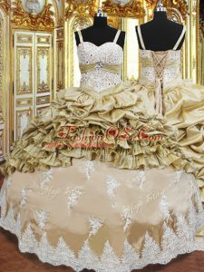 Sleeveless Lace Up Floor Length Beading and Appliques and Ruffled Layers and Pick Ups Quinceanera Dresses