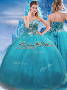 Luxury Floor Length Teal 15th Birthday Dress Sweetheart Sleeveless Lace Up