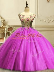 Nice Appliques and Sequins Ball Gown Prom Dress Fuchsia Lace Up Sleeveless Floor Length