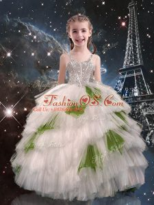 White Sleeveless Tulle Lace Up Little Girls Pageant Dress Wholesale for Quinceanera and Wedding Party