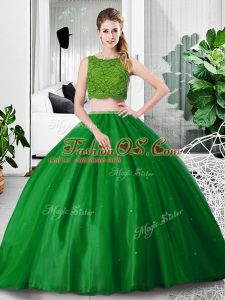 Popular Green Tulle Zipper Quinceanera Gowns Sleeveless Floor Length Lace and Ruching