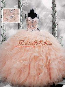 Sumptuous Floor Length Peach Sweet 16 Dresses Straps Sleeveless Lace Up