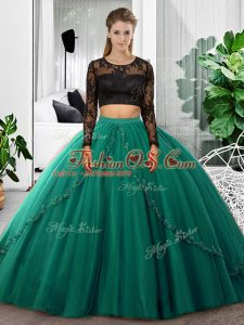 Stunning Dark Green Backless Scoop Lace and Ruching Quinceanera Dress Tulle Long Sleeves