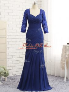 Elegant Blue Zipper Sweetheart Beading and Lace and Appliques and Ruching Mother Of The Bride Dress Chiffon 3 4 Length Sleeve