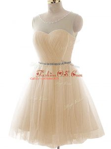 Enchanting Champagne Sleeveless Floor Length Beading and Ruching Lace Up Party Dress for Girls