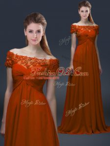 Artistic Short Sleeves Floor Length Appliques Lace Up Mother Of The Bride Dress with Rust Red