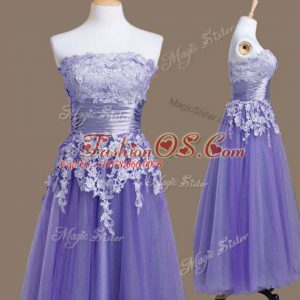 Dazzling Tea Length Lavender Wedding Party Dress Tulle Sleeveless Appliques