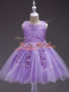 Lavender Scoop Neckline Appliques Pageant Gowns For Girls Sleeveless Zipper