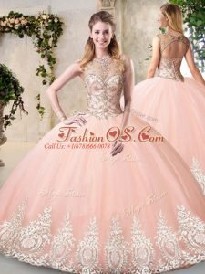 Pretty Peach Tulle Backless Sweet 16 Dress Sleeveless Floor Length Beading and Appliques