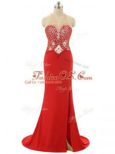Free and Easy Chiffon Sleeveless Celebrity Inspired Dress Brush Train and Beading