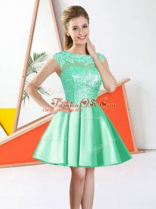Smart Apple Green Taffeta Backless Dama Dress Sleeveless Knee Length Beading and Lace