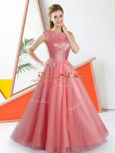 Shining Watermelon Red Sleeveless Floor Length Beading and Lace Backless Bridesmaid Dress