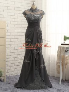 Black Column/Sheath Chiffon High-neck Cap Sleeves Lace and Ruching Floor Length Zipper Mother Of The Bride Dress