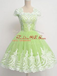 Pretty Lace Vestidos de Damas Yellow Green Zipper Cap Sleeves Knee Length