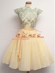 Best Selling Champagne Bridesmaid Dresses Prom and Party and Wedding Party with Lace and Belt Scalloped Cap Sleeves Lace Up