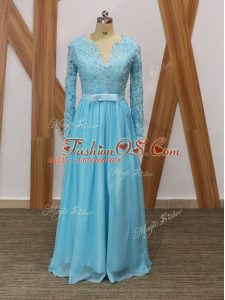 Beauteous Baby Blue Long Sleeves Lace Floor Length Mother Of The Bride Dress