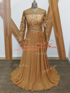 Brown Mother Of The Bride Dress Prom and Sweet 16 with Lace High-neck Long Sleeves Brush Train Zipper